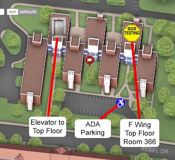 SDS Testing Center Kinard Hall Map