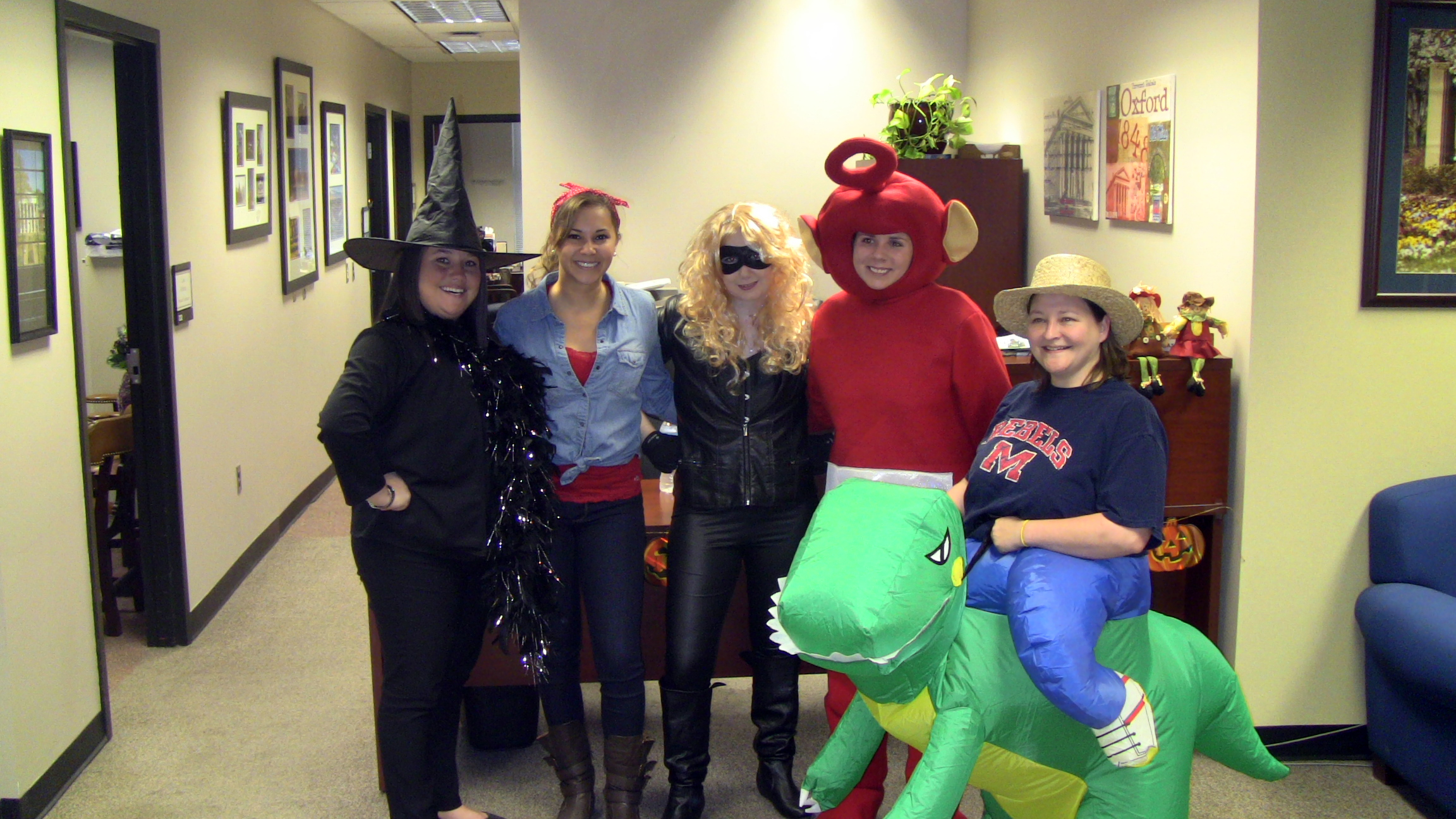 A group shot of SDS Access Services Advisors and Graduate Assistants scare up some fun on Halloween.