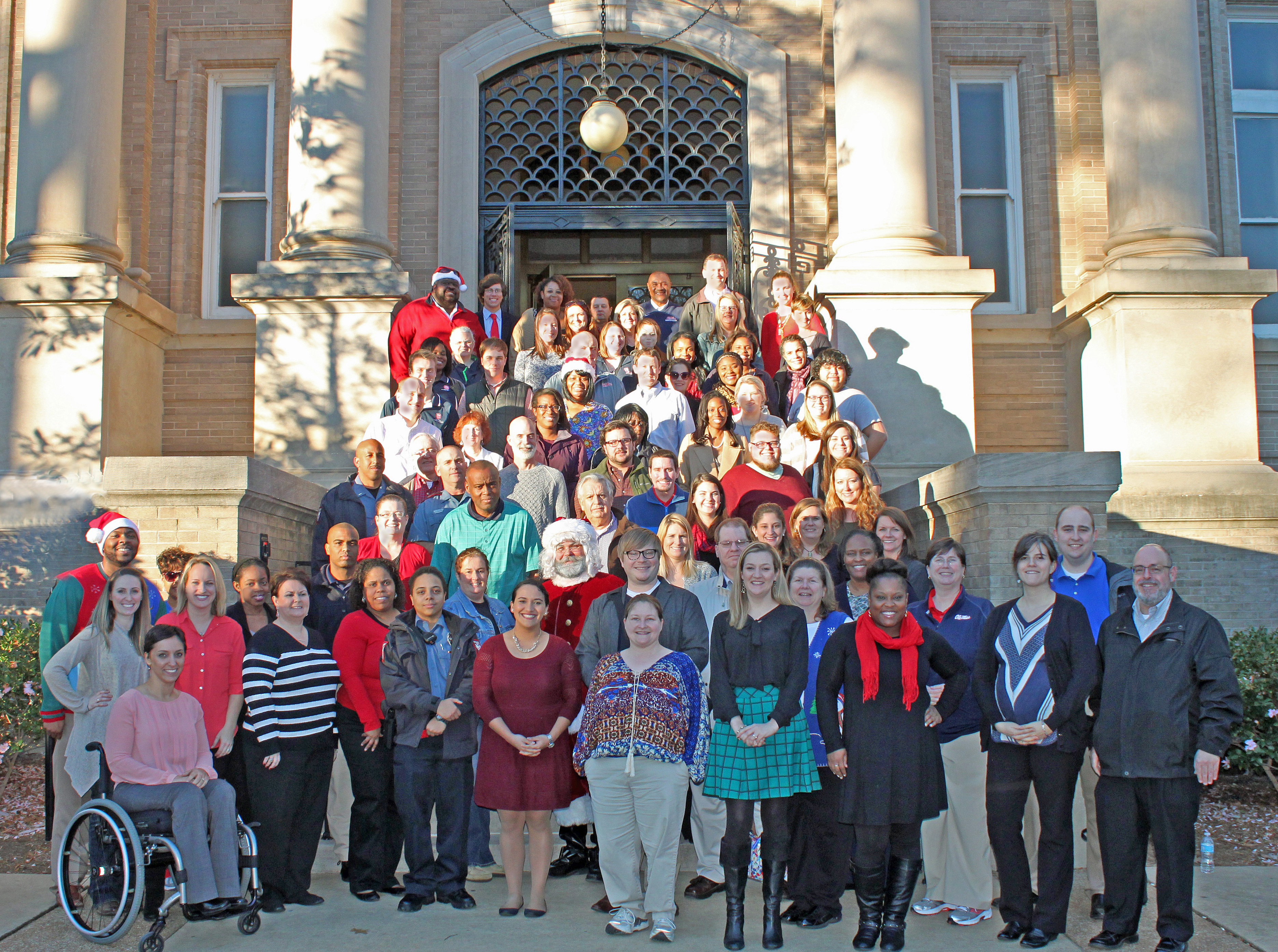 Student Affairs holiday social group picture.