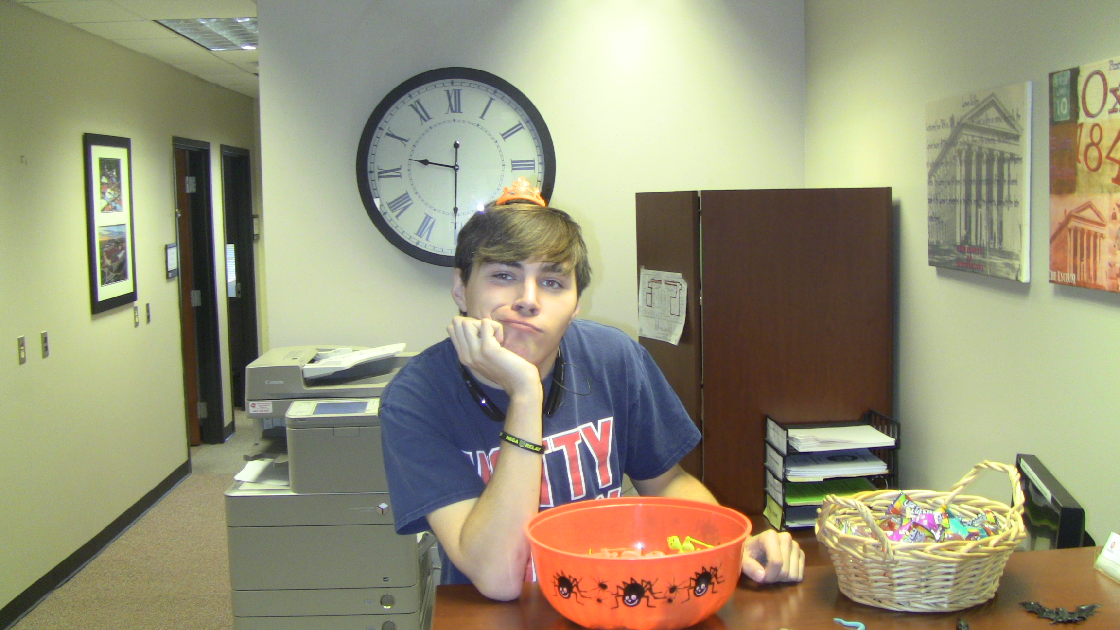SDS student worker, Lane Killough, celebrates Halloween in his own special way.