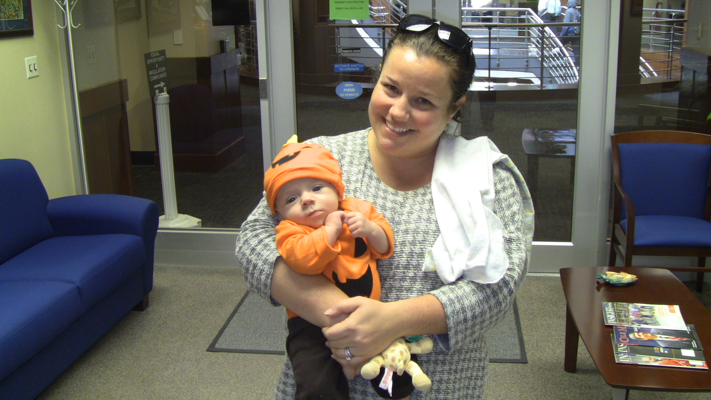 Cassie Luna and her baby son take a fun Halloween picture.
